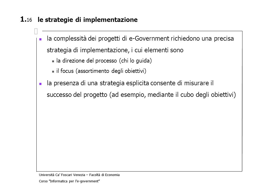le strategie di implementazione