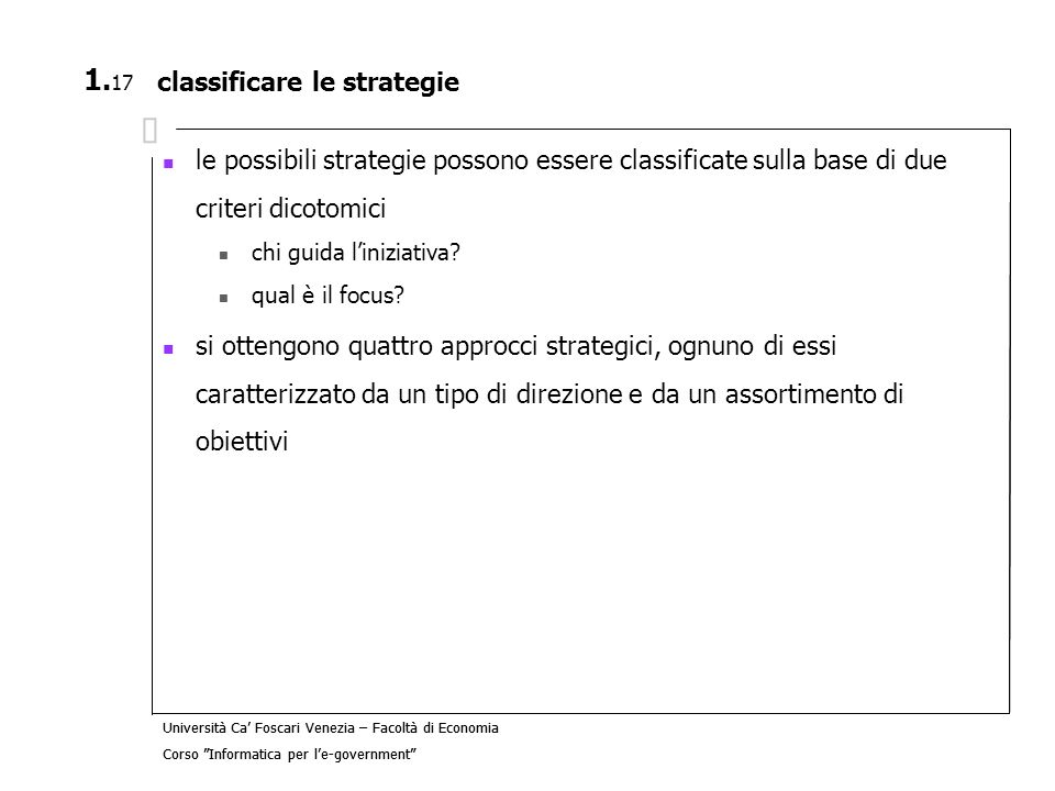 classificare le strategie