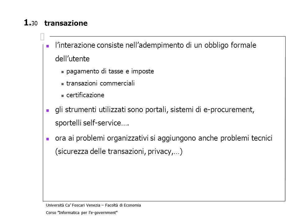 transazione l'interazione consiste nell'adempimento di un obbligo formale dell'utente. pagamento di tasse e imposte.