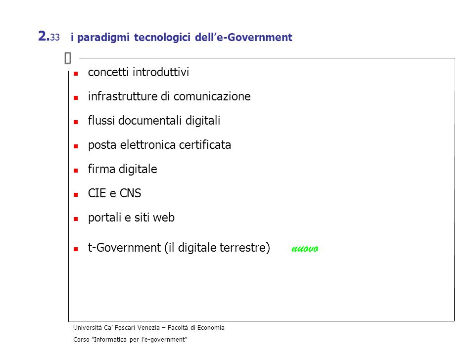 i paradigmi tecnologici dell'e-Government