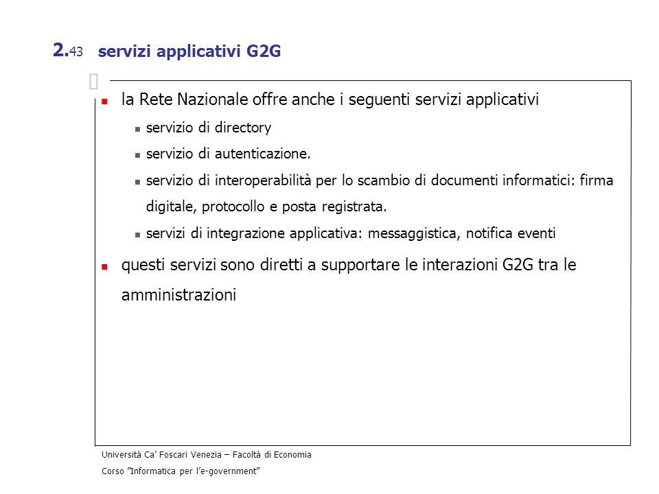 servizi applicativi G2G