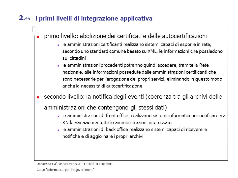 i primi livelli di integrazione applicativa