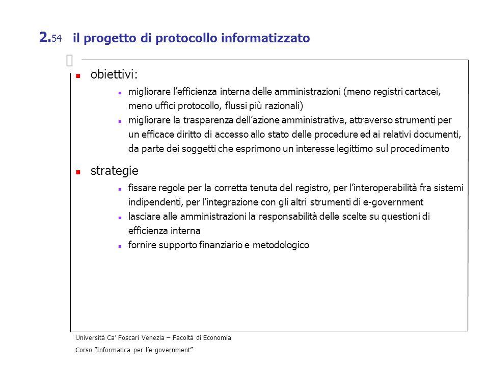il progetto di protocollo informatizzato