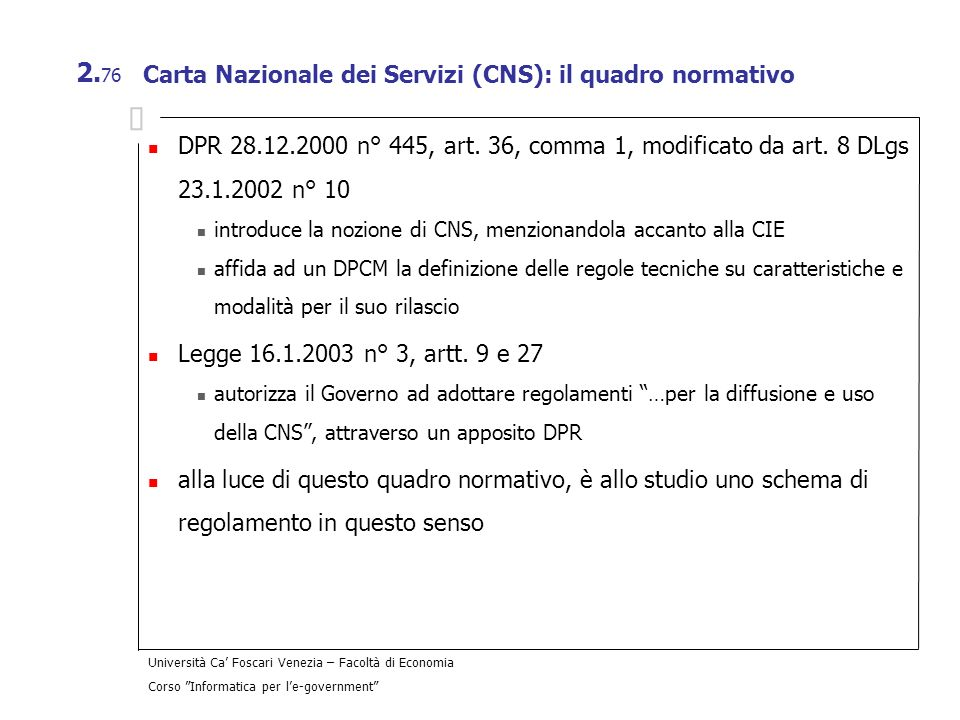 Carta Nazionale dei Servizi (CNS): il quadro normativo