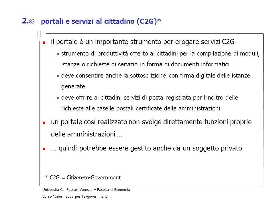 portali e servizi al cittadino (C2G)*
