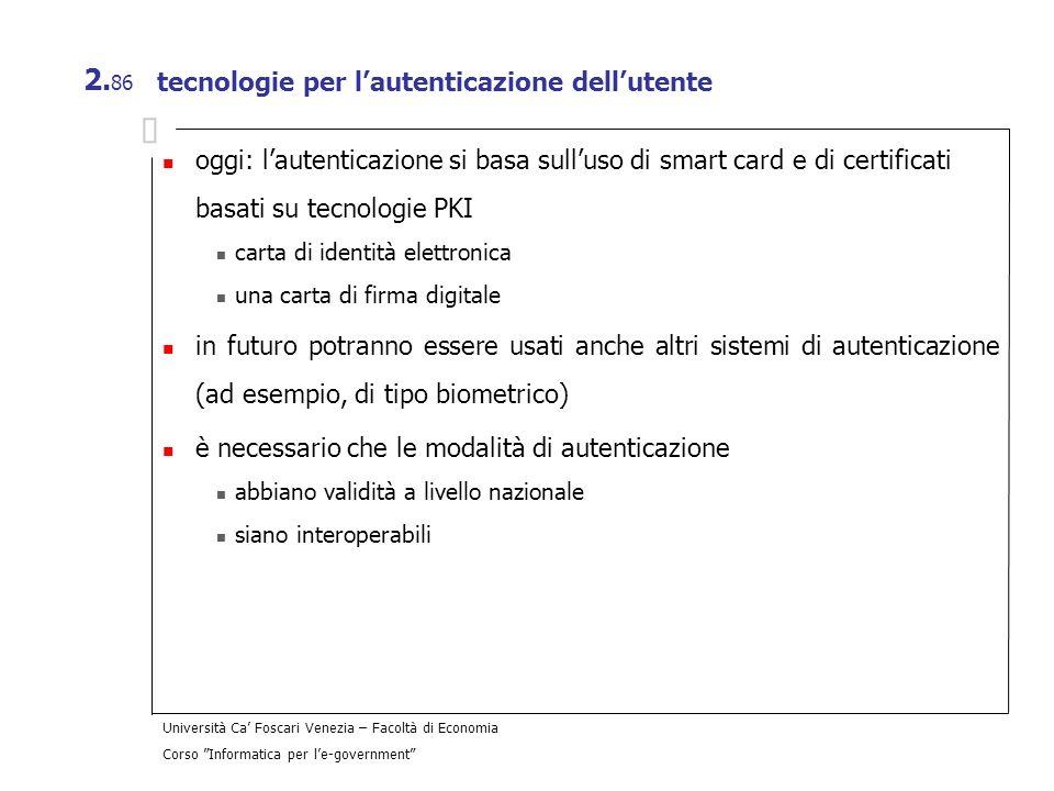 tecnologie per l'autenticazione dell'utente