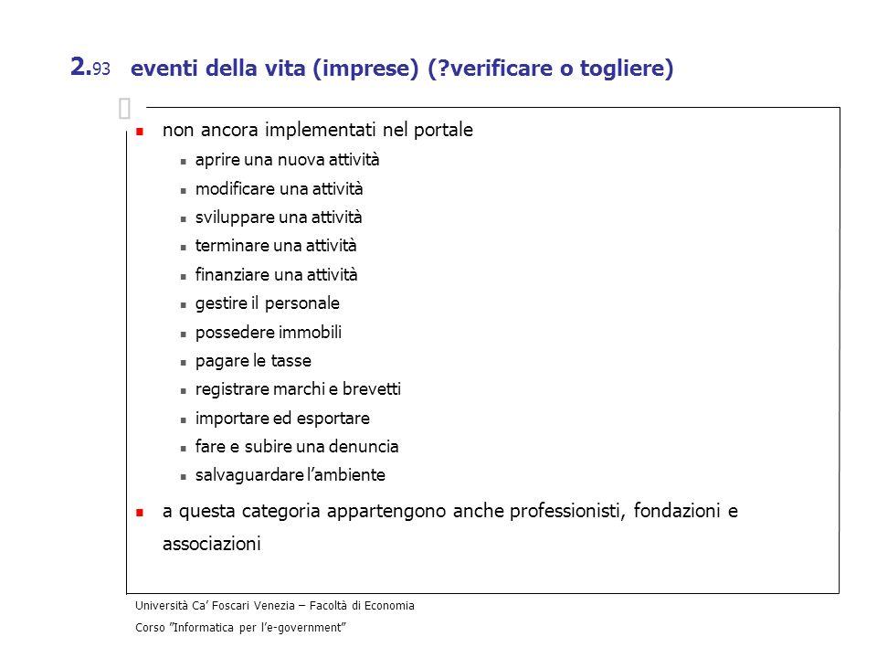 eventi della vita (imprese) ( verificare o togliere)