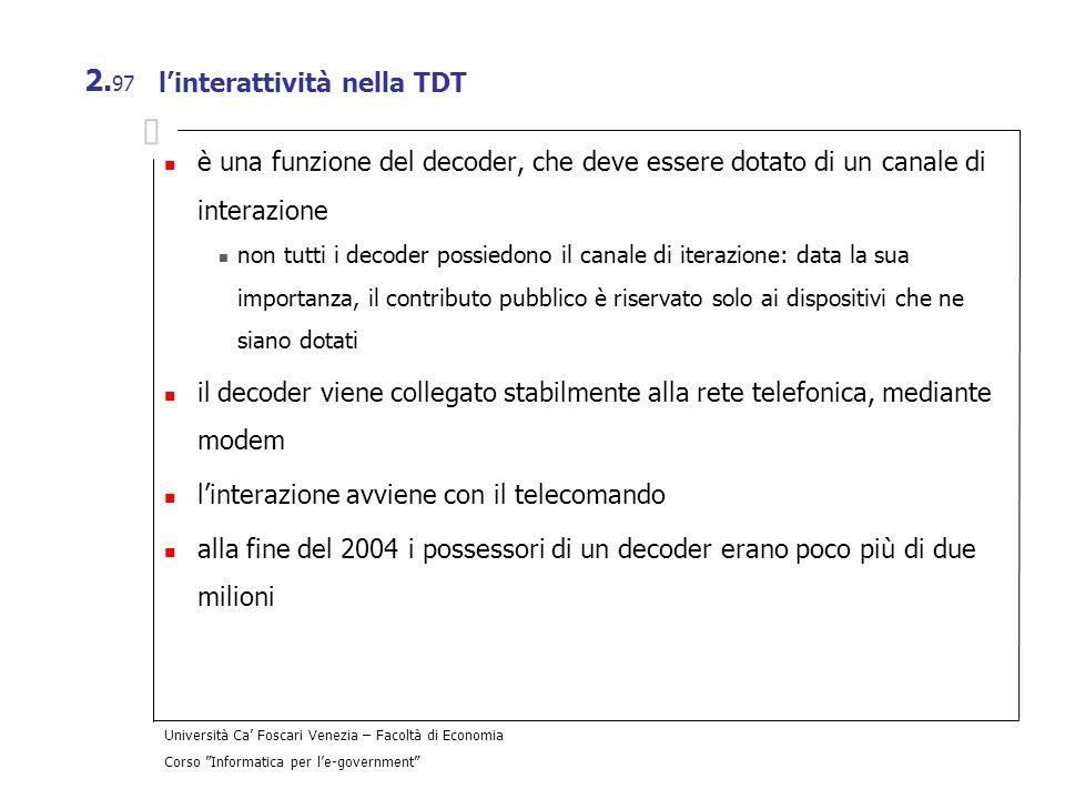 l'interattività nella TDT