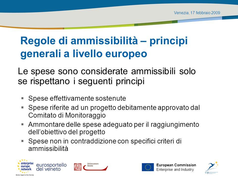 Regole di ammissibilità – principi generali a livello europeo
