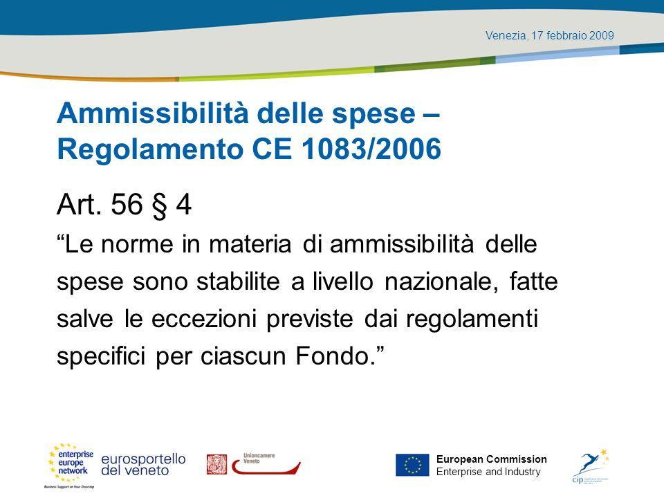 Ammissibilità delle spese – Regolamento CE 1083/2006