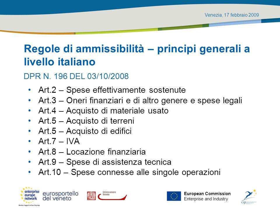 Regole di ammissibilità – principi generali a livello italiano