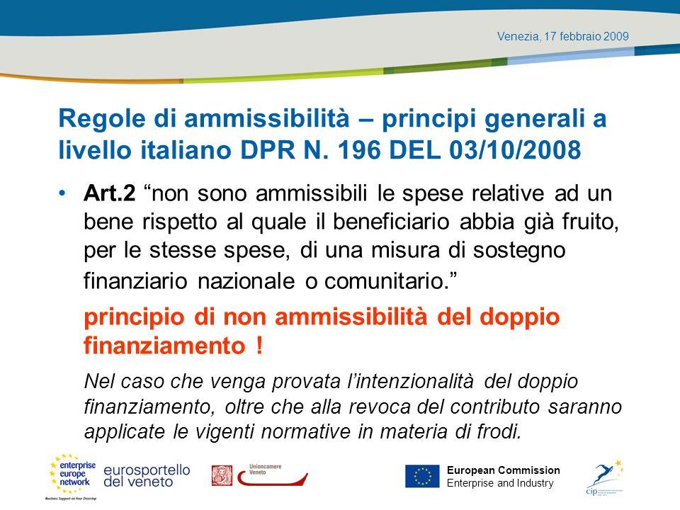 Regole di ammissibilità – principi generali a livello italiano DPR N