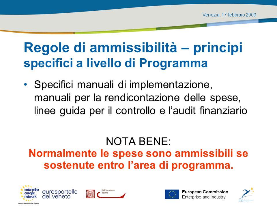 Regole di ammissibilità – principi specifici a livello di Programma