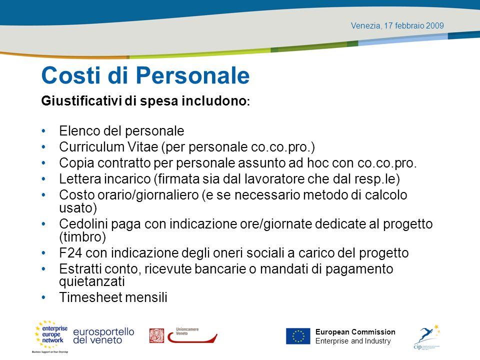 Costi di Personale Giustificativi di spesa includono: