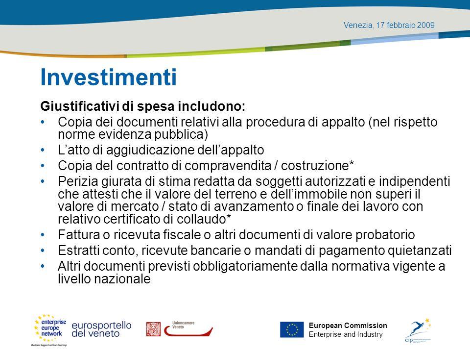 Investimenti Giustificativi di spesa includono: