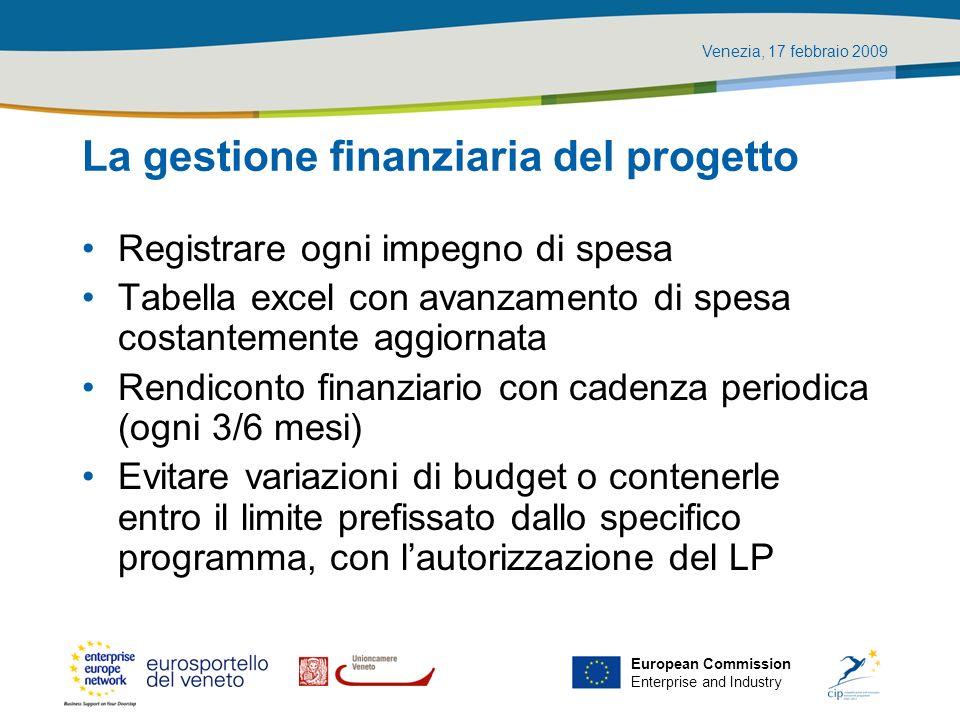 La gestione finanziaria del progetto