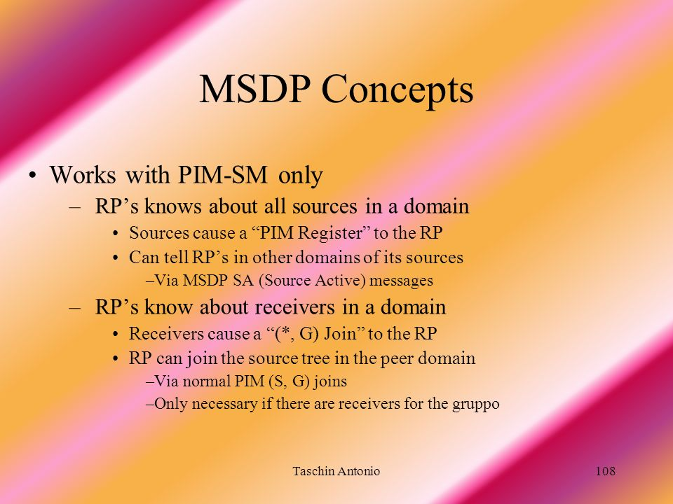 MSDP Concepts Works with PIM-SM only