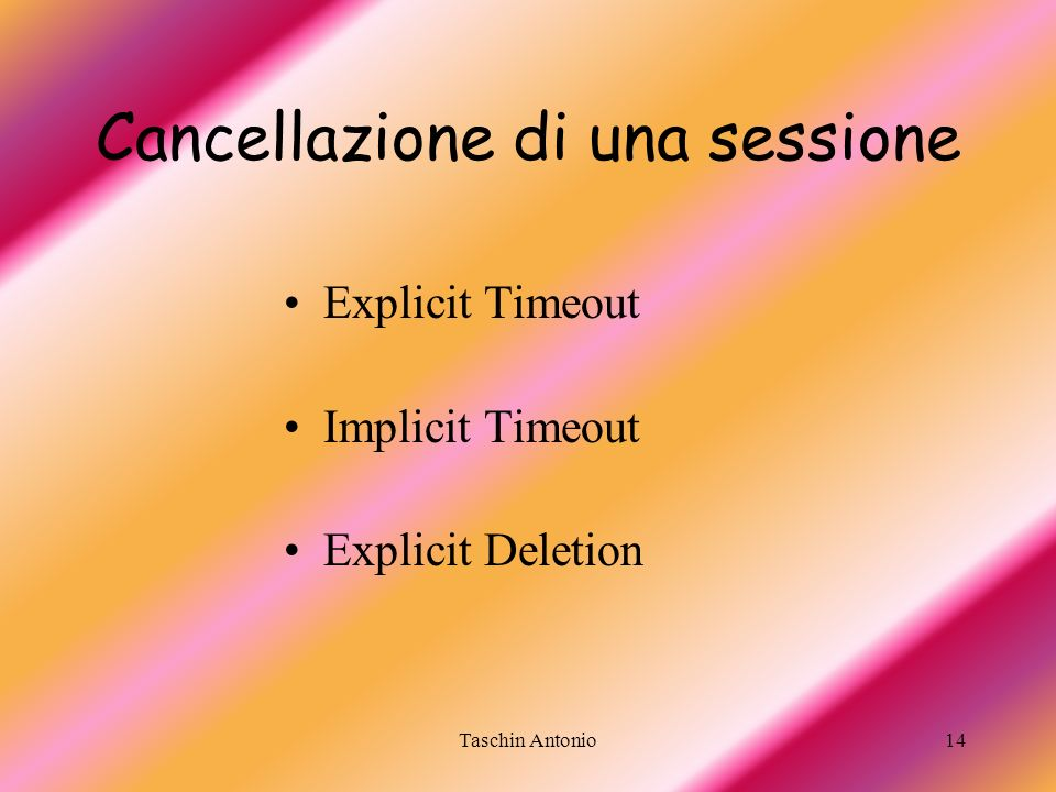 Cancellazione di una sessione