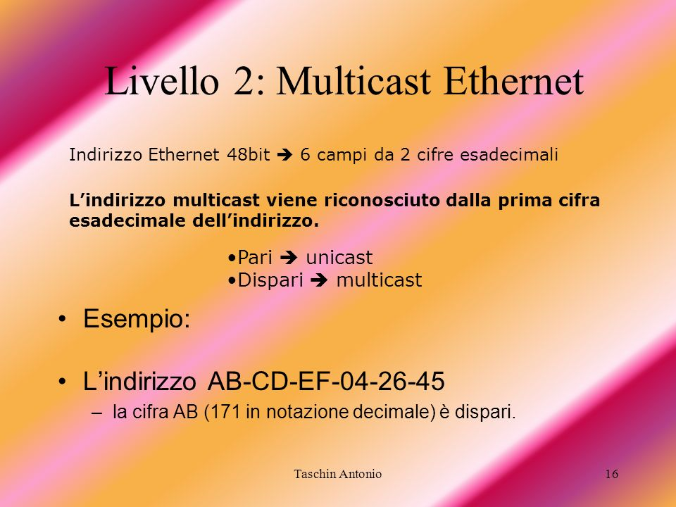 Livello 2: Multicast Ethernet