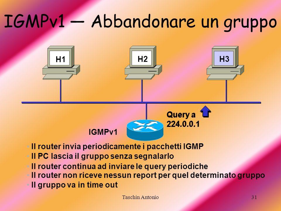 IGMPv1 — Abbandonare un gruppo
