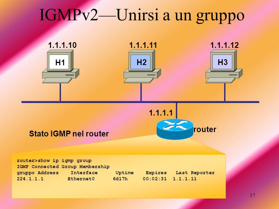 IGMPv2—Unirsi a un gruppo