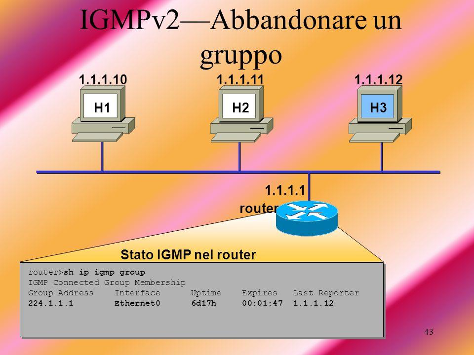 IGMPv2—Abbandonare un gruppo