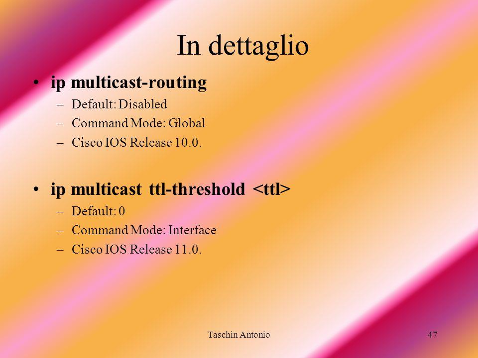 In dettaglio ip multicast-routing