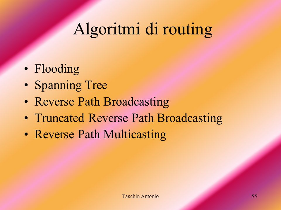 Algoritmi di routing Flooding Spanning Tree Reverse Path Broadcasting