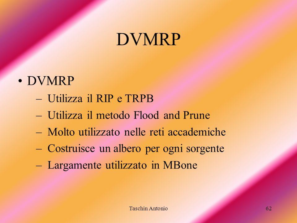 DVMRP DVMRP Utilizza il RIP e TRPB Utilizza il metodo Flood and Prune