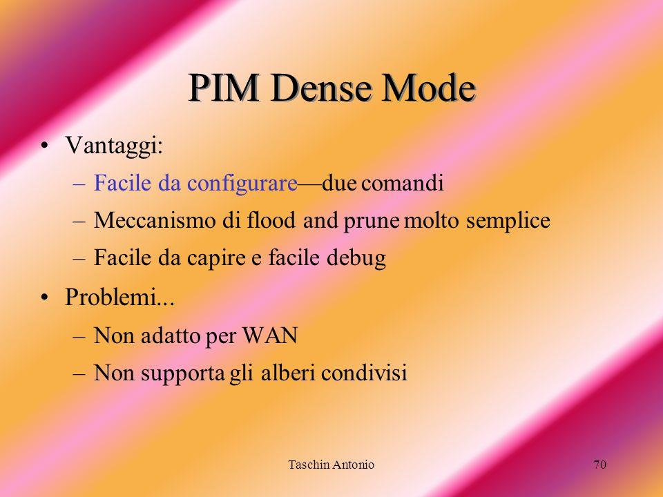 PIM Dense Mode Vantaggi: Problemi... Facile da configurare—due comandi
