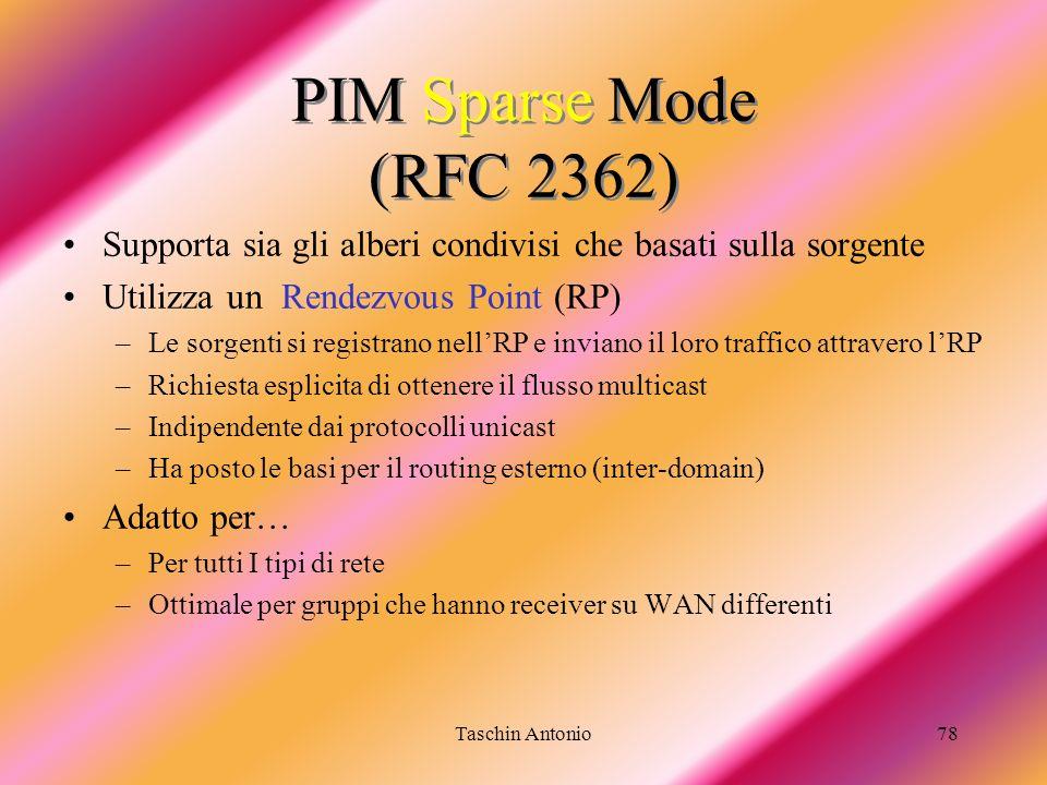 PIM Sparse Mode (RFC 2362) Supporta sia gli alberi condivisi che basati sulla sorgente. Utilizza un Rendezvous Point (RP)