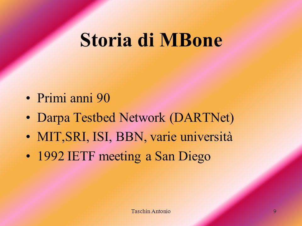 Storia di MBone Primi anni 90 Darpa Testbed Network (DARTNet)