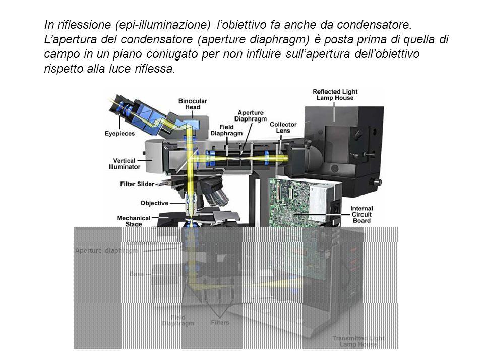 In riflessione (epi-illuminazione) l'obiettivo fa anche da condensatore.