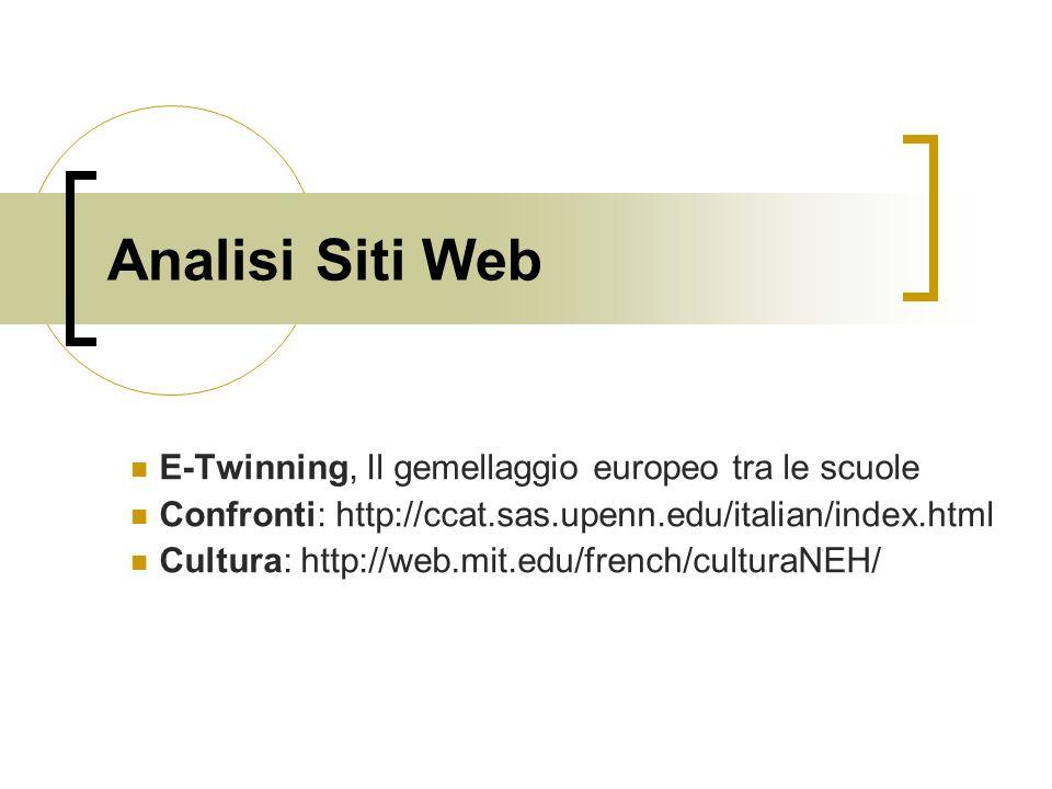 Analisi Siti Web E-Twinning, Il gemellaggio europeo tra le scuole