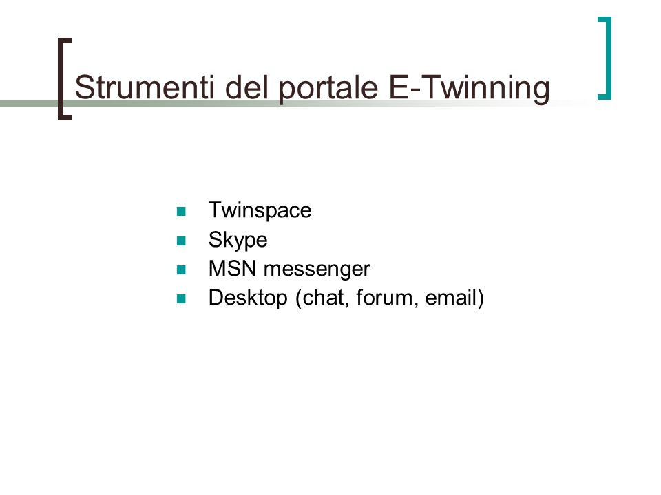 Strumenti del portale E-Twinning