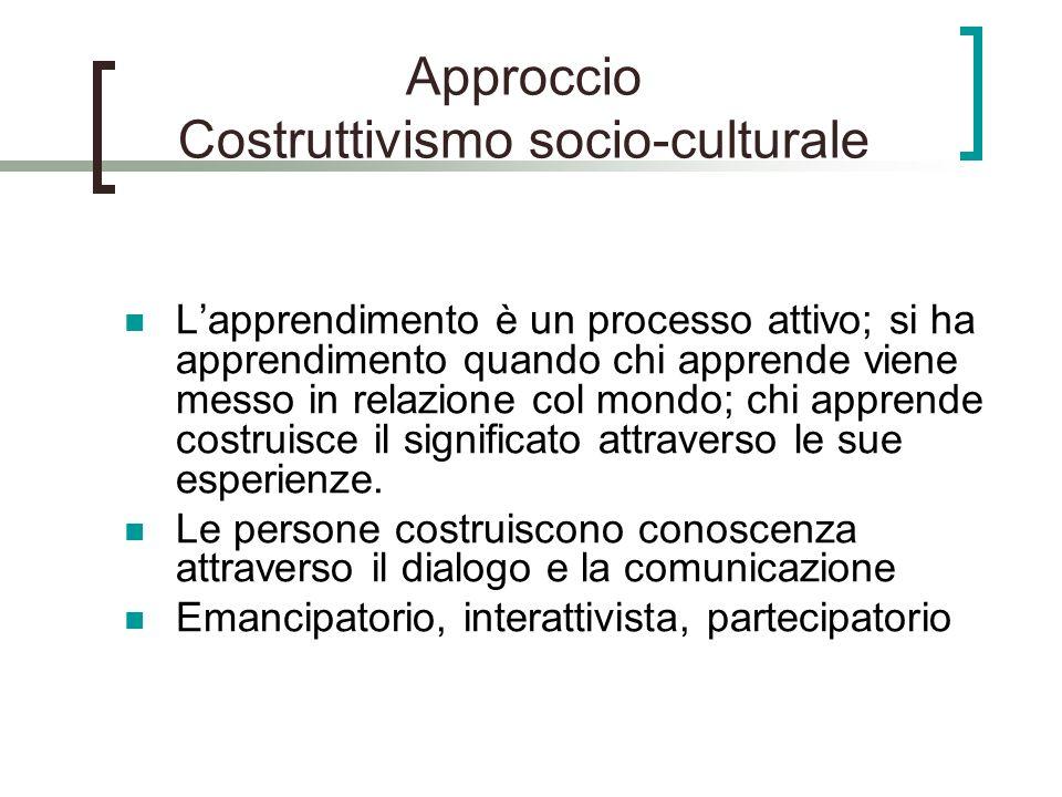 Approccio Costruttivismo socio-culturale