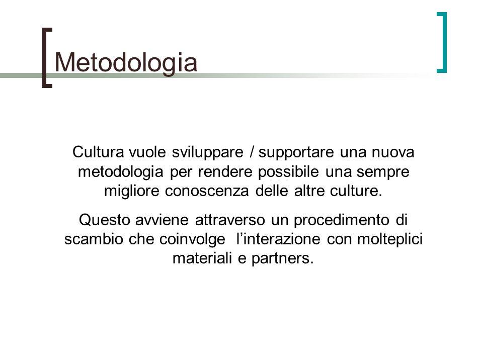 Metodologia Cultura vuole sviluppare / supportare una nuova metodologia per rendere possibile una sempre migliore conoscenza delle altre culture.