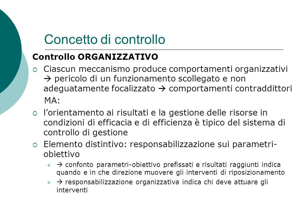Concetto di controllo Controllo ORGANIZZATIVO