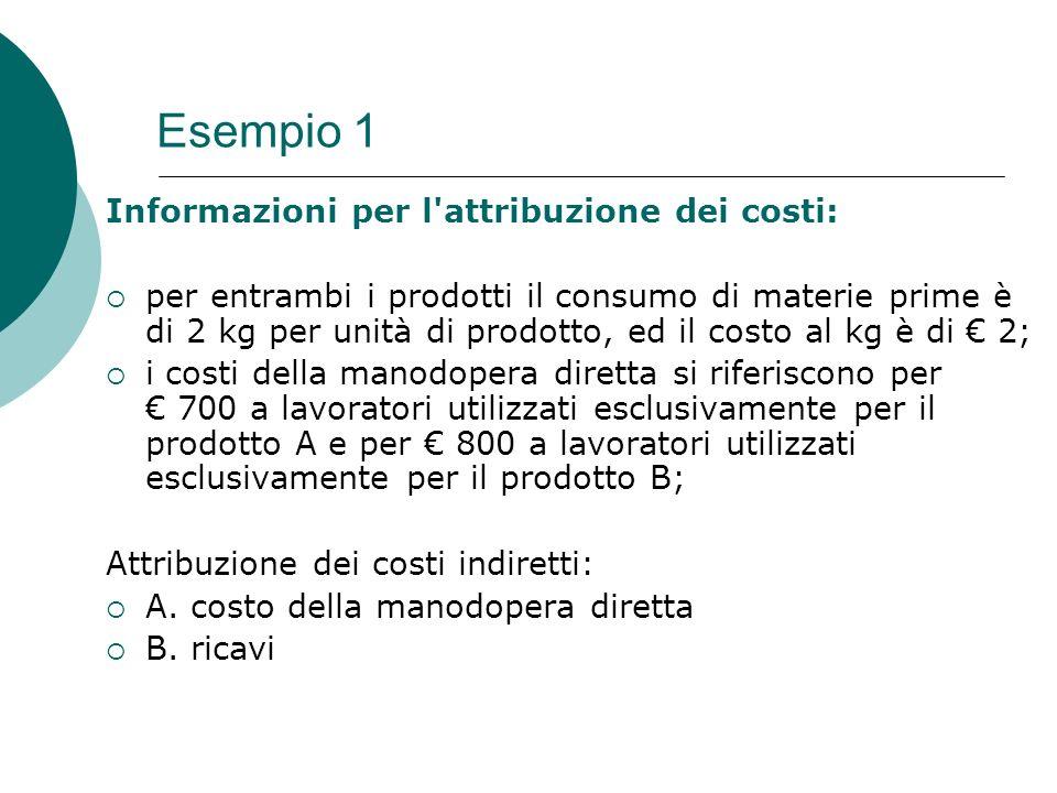 Esempio 1 Informazioni per l attribuzione dei costi: