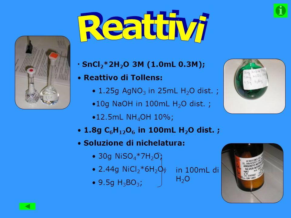 Reattivi SnCl2*2H2O 3M (1.0mL 0.3M); Reattivo di Tollens: