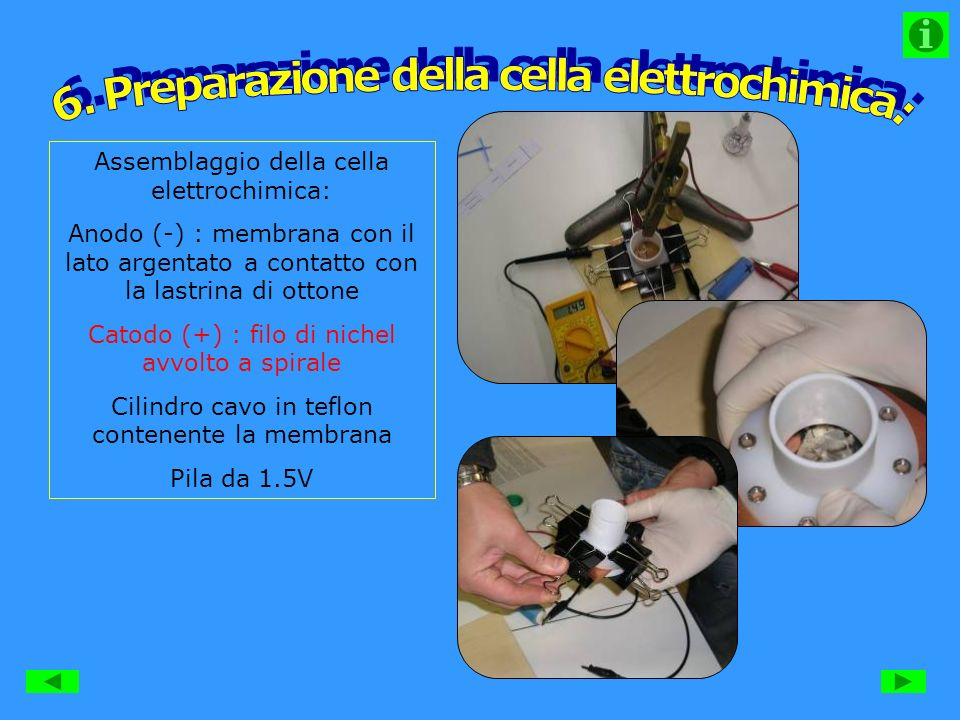 6. Preparazione della cella elettrochimica: