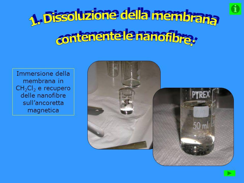 1. Dissoluzione della membrana contenente le nanofibre: