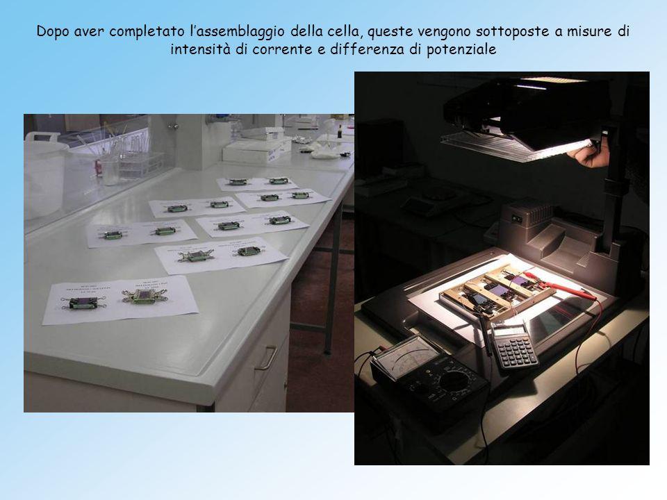 Dopo aver completato l'assemblaggio della cella, queste vengono sottoposte a misure di intensità di corrente e differenza di potenziale