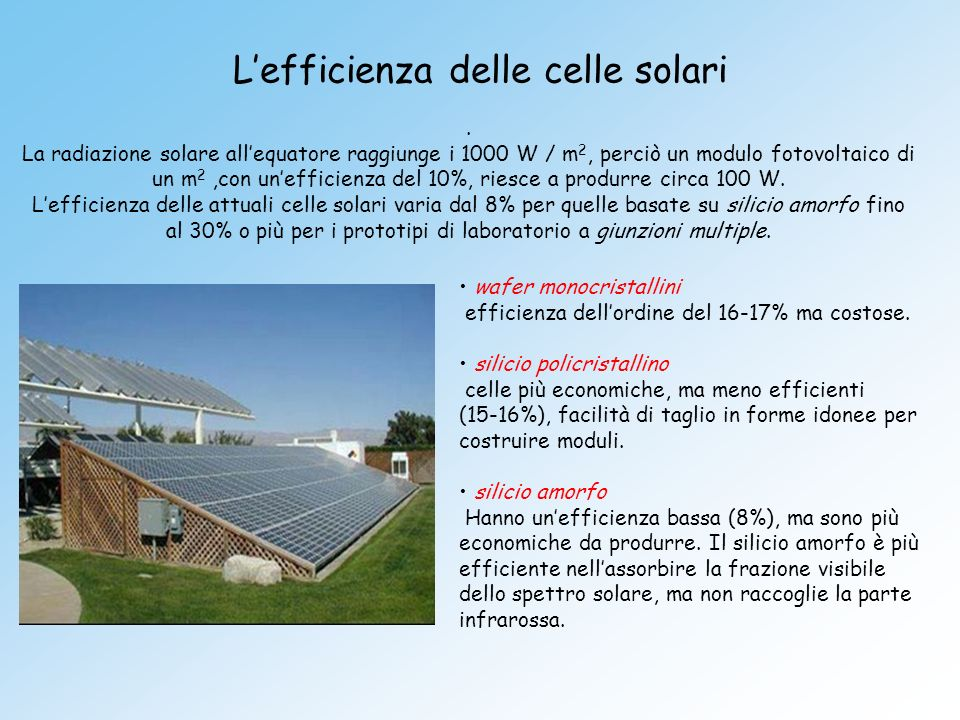 L'efficienza delle celle solari