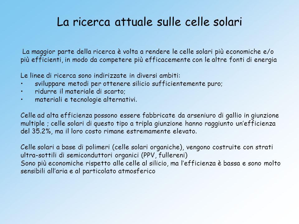 La ricerca attuale sulle celle solari
