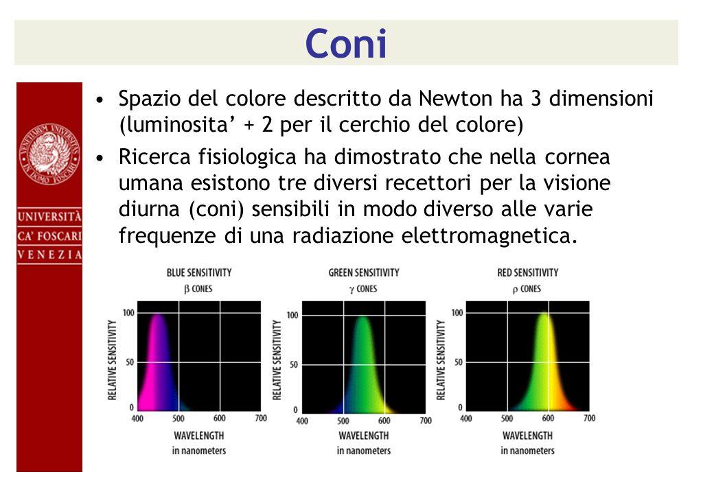 Coni Spazio del colore descritto da Newton ha 3 dimensioni (luminosita' + 2 per il cerchio del colore)