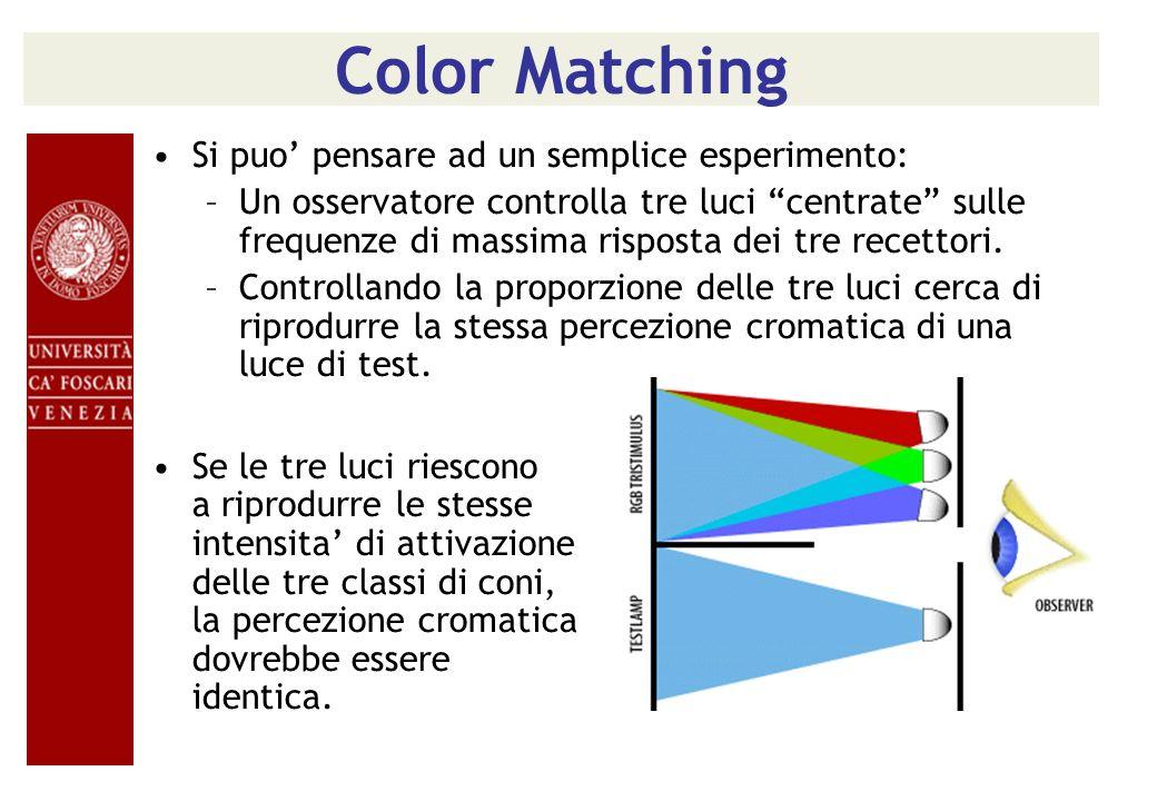 Color Matching Si puo' pensare ad un semplice esperimento:
