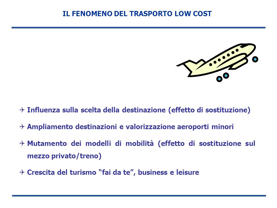 IL FENOMENO DEL TRASPORTO LOW COST