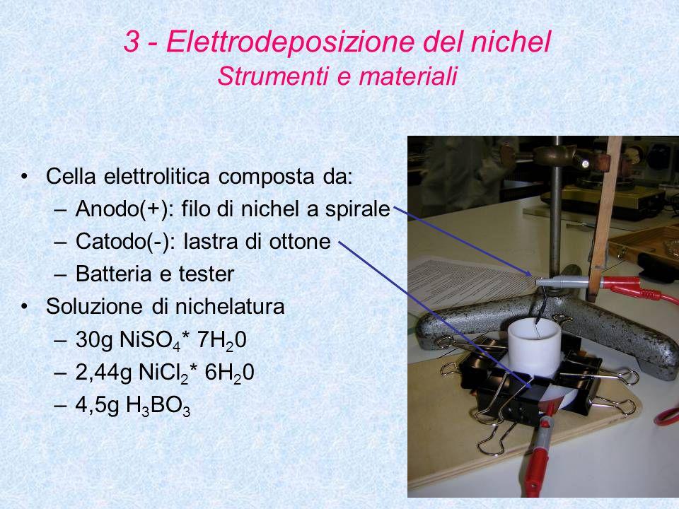 3 - Elettrodeposizione del nichel Strumenti e materiali