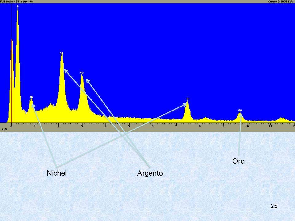 Analisi del campione allo spettrometro di massa in un preciso punto delle fibre. I picchi rappresentano gli elementi presenti nel punto esaminato.